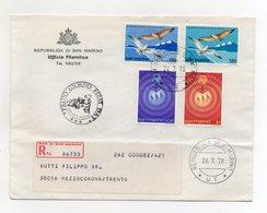 San Marino - 1978 - Busta FDC - Con Quadruplo Annullo - Viaggiata Con Raccomandata - (FDC19444) - FDC