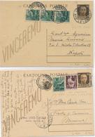 1946 2 CARTOLINE POSTALI VINCEREMO SENZA MOTTO CASSATO IN PIENA REPUBBLICA - 6. 1946-.. Repubblica