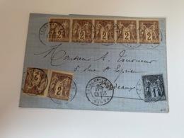 Lettre De PARIS Bande De 5 Du N°85 - 1876-1898 Sage (Type II)