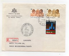 San Marino - 1976 - Busta FDC - Con Triplo Annullo - Viaggiata Con Raccomandata - (FDC19447) - FDC