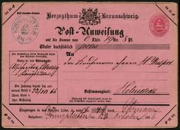BRAUNSCHWEIG 1866 POSTANWEISUNG 1 Gr., STPL-K2 KÖNIGSLUTTER BLAU NACH HELMSTEDT - Brunswick