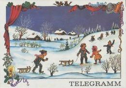 DDR Schmuckblatt Telegramm Télégramme De Bijoux Lx65 /90-181 Winter Schnee Kind Rodeln Freizeit - Oude Documenten