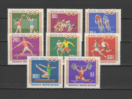 Mongolia 1968 Olympic Games Mexico, Volleyball, Cycling, Football Soccer Etc. Set Of 8 MNH - Zomer 1968: Mexico-City