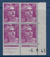 "FR Coins Datés YT 724 "" Gandon 15F Lilas-rose "" Neuf** Du 6.6.1945 - 1940-1949"