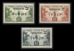 INDOCHINE   1945 -   YT  296 297 - 298 - La Série - Surchargés  - NEUFs - Unused Stamps