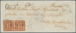 Bayern 1861 Umschlag 2 * 6 Kr. Eingeschrieben Taufkirchen Nach Disentis Schweiz, Einschreiben 6 Kr. Bar Bezahlt (u15) - Bayern (Baviera)