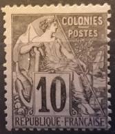 Colonies Générales,  Type ALPHEE DUBOIS,  Yvert No 50, 10 C Noir S Lilas Obl TB - Alphée Dubois