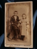 Photo CDV  Bernheim Wormser à Mulhouse  Fillette Et Garçon Avec Un Cerceau  CA 1885-90 - L481F - Fotos