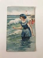 Carte Postale Ancienne (1912 ) OSTENDE Dessin De Baigneuse - Oostende