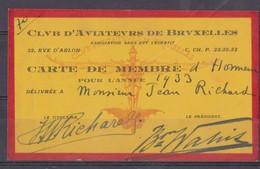 Club D'Aviateurs De Bruxelles, Carte De Membre 1933. - Documents Historiques