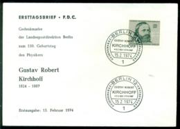 Bundesrepublik Deutschland Berlin 1974 FDC Gustav Robert - [5] Berlín