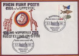 RHEIN RUHR POSTA Wuppertaler Zoo Handgemalter Künstler-Bf SSt Stadthalle 18.5.81 - Timbres