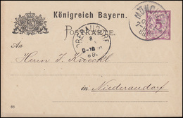 Bayern Postkarte Ziffer 5 Pf Lila DV 88: MÜNCHEN I. 8.10.88 Nach Niederaudorf - Bayern