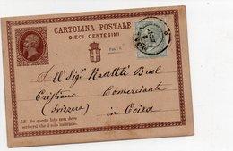 CARTOLINA POSTALE - VITTORIO EMANUELE II - 1874 PER ESTERO Con Francobollo Cent 0,05 - Da Catalogo C1 - Ansichtskarten