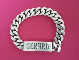 Bracelet, Gourmette Homme En Argent Massif : 22,5 Cm - Minerve - Prénom: GERARD - Bracelets