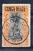 CONGO - Cob 32L - Locale L2 - Planche I+A1b Rare Avec Surcharge - Obl Boma 21-01-1909 - RRR- KX6 - Congo Belga