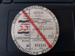 SIGNE DISTINCTIF FISCAL POUR VEHICULE AUTOMOBILE 28/07/1953 AUSTINE A40 - Vieux Papiers