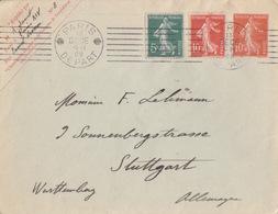 Lettre Entier 10c Semeuse Rouge + 10c Et 5c Obl. Paris Départ (7 Lignes Krag A00017) Le 13Dece08 Pour L'Allemagne - Postal Stamped Stationery