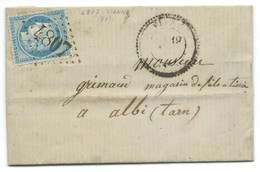 N°60 BLEU CERES SUR LETTRE / VIANE TARN POUR ALBI / GC 4807 INDICE 17 / ECRITE DE BAGNAS / 1871 - Storia Postale