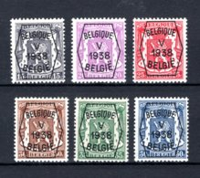 PRE357/362 MNH** 1938 - Klein Staatswapen V Opdruk Type A - REEKS 5 - Typo Precancels 1936-51 (Small Seal Of The State)