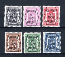 PRE363/368 MNH** 1938 - Klein Staatswapen VI Opdruk Type A  - REEKS 6 - Typo Precancels 1936-51 (Small Seal Of The State)
