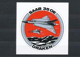 Vignette  Aufkleber  Saab 35 OE Draken - Erinnofilia