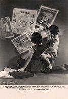 """1° MOSTRA NAZIONALE DEL FRANCOBOLLO """"PER SOGGETTI"""" BIELLA 1951  - NON VIAGGIATA Con Timbro Della Manifestazione - Briefmarken (Abbildungen)"""