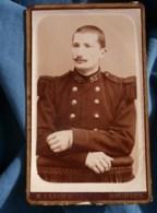 Photo CDV M. Lanoue à Bourges - Militaire Soldat Du 95e D'infanterie, Vers 1890 L485 - Fotos
