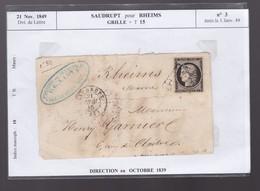 Un Timbre Cérès N° 3  Dvt De Lettre  1849  : Saudrupt Pour Rheims  Grille +T 15 - 1849-1876: Période Classique