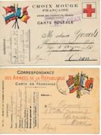 2 Cartes Drapeaux – Corps Expéditionnaire D'Orient Vers Oran Algérie - Croix Rouge - Secteur Postal 503 - Marcofilie (Brieven)