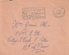 """Env. De """"Périgueux RP - 24, Dordogne"""" Du 22-02-1964 """"Centenaire De La Préhistoire"""" (Port Payé Date Inversée), Mammouth - Storia Postale"""