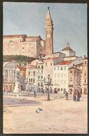Pirano - Der Hauptplatz Mit Dem Tartini Monument (1913) - Slowenien