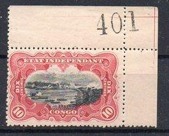 CONGO - Cob 19 Camin - X - Coin De Feuille Avec GRAND Numéro De Planche - RRR  - Dent 15 -I2+A4 -    KX6 - 1894-1923 Mols: Mint/hinged