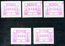 5606 - NORWEGEN - Automatenmarken 1.1 (3 Stück, Davon 2 Mit Farbrand), 1.2. + 1.3 - Automatenmarken (ATM/Frama)