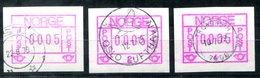 5607 - NORWEGEN - Automatenmarken 1.1 + 1.2. (jeweils Gestempelt Oslo) + 1.4 (gestempelt Trondheim) - Automatenmarken (ATM/Frama)