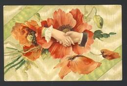Gaufrée Mains Fleur Graceful Hands Shake Poppy Poppies Embossed 1910 - Fiori