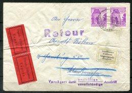 5608 - ÖSTERREICH - Waag.Paar Der Mi. 1051 Auf Eilbrief Nach Hamburg Und Retour (Bf. 2mal Gefaltet) - 1945-.... 2. Republik