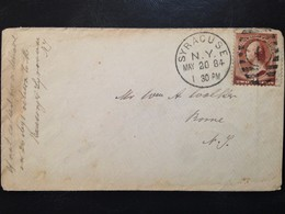 United States Circulated Cover From Siracuse (N.Y) To Rome (N.Y.), 1884 - 1847-99 Unionsausgaben