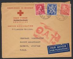 """Affranch. Mixte Sur Lettre """"Croix-rouge"""" Par Avion De Ixelles - Elsene (1943) + Censure O.A.T. Vers Detroit (Michigan) - WW II"""