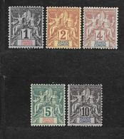 GRANDE COMORE - N° 1 à 5 NEUF * - COTE = 21.50 € - Grande Comore (1897-1912)