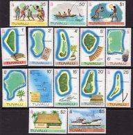 Tuvalu 1976 Maps Of Islands Definitives Set Of 15, MNH, SG 30/44 (BP2) - Tuvalu