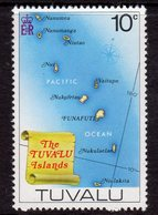 Tuvalu 1976 Map Of Tuvalu Definitive 10c Value, MNH, SG 36 (BP2) - Tuvalu