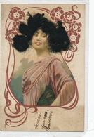 Carte Art Nouveau Femme Dessin Avec Cheveux Reels Gaufrée Embossed . Andalouse Vers Vouziers Ardennes . Carte à Cheveux - Femmes