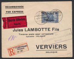 Guerre 14-18 - OC24 Sur Lettre R Et Expres De Welkenraad (1917) Vers Verviers + Censure Militaire De Verviers - WW I