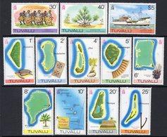 Tuvalu 1977-8 Maps Of Islands No Watermark Definitives Set Of 12, MNH, SG 58/69 (BP2) - Tuvalu