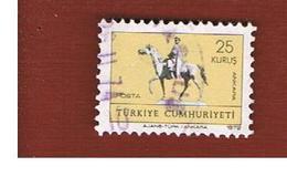 TURCHIA (TURKEY)  -  SG 2418  - 1972  GREETINGS CARD STAMP: ATATURK STATUE - USED - Brieven En Documenten