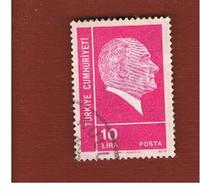 TURCHIA (TURKEY)  -  SG 2438  - 1975  K. ATATURK, LIRA 10  - USED - Brieven En Documenten