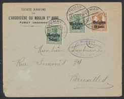 """Guerre 14-18 - OC12 X2 Et 15 Sur Lettre Obl à Pont """"Fumay"""" (1917) + Censure Givet Vers Bruxelles. TB - Weltkrieg 1914-18"""