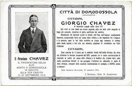 CPA  AVIATEUR Jorge Chávez Dartnell, Géo Chavez », MORT EN ITALIE  DOMODOSSOLA 1910 RICCORDO DELLA CADUTA PERUVIEN N02 - Airmen, Fliers