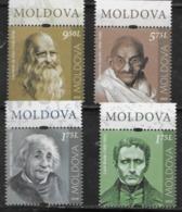 MOLDOVA, 2019, MNH, PERSONALITIES, GANDHI, EINSTEIN, DA VINCI, LOUIS BRAILLE, 4v - Mahatma Gandhi